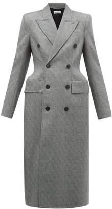 Balenciaga Hourglass Double Breasted Crosshatch Wool Coat - Womens - Grey Multi