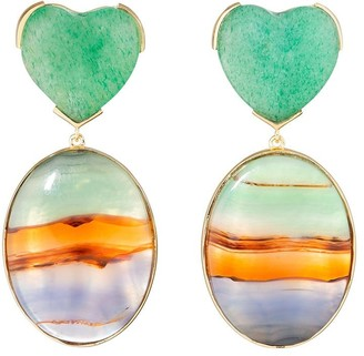 GUITA M 18kt Yellow Gold, Stripe Agate And Jade Heart Earrings
