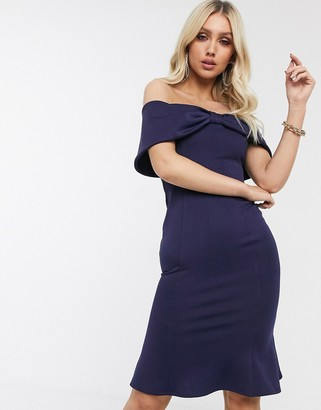 Laced In Love bow off shoulder pencil dress in navy