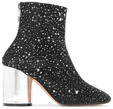 Maison Margiela Metallic Leather-trimmed Glittered Canvas Ankle Boots - Black