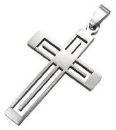 Beautiful Silver Jewelry Stylized Openwork Christian Cross Pendant Necklace Stainless Steel on 23 Inch Chain