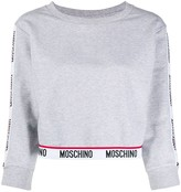 Moschino cropped logo tape sweater