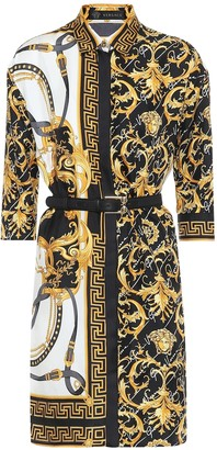 Versace Barocco silk-twill shirt dress