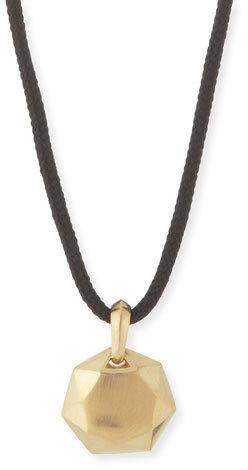 David Yurman 12mm Men's Fortune Pendant in 18K Gold, Black Cord