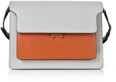 Marni Pelican Gray, Chili Red and Black Leather Large Trunk Bag