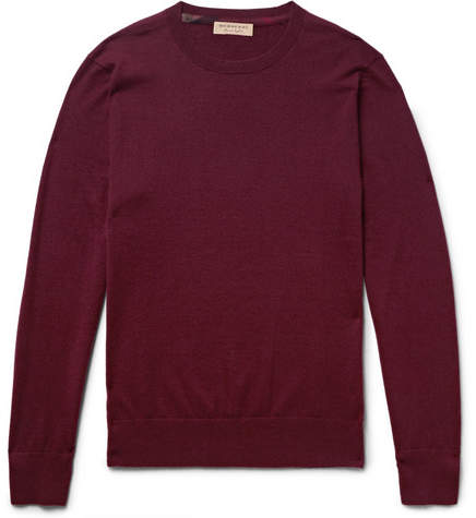 Burberry Slim-Fit Check-Trimmed Cashmere Sweater