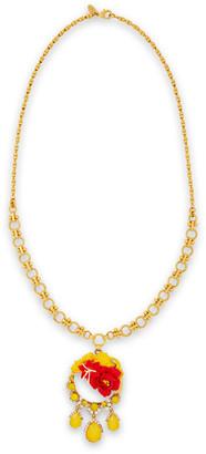Elizabeth Cole 24-karat Gold-plated, Swarovski Crystal, Enamel And Clay Necklace