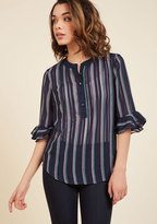 ModCloth Renewed With Ruffles Button-Up Top in M