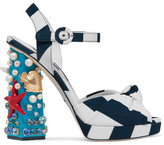 Dolce & Gabbana Embellished Striped Canvas Sandals - Navy