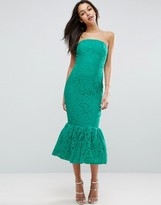 Asos Bandeau Lace Trumpet Hem Midi Dress