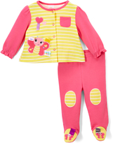 Taggies Hot Pink Butterfly Cardigan & Footie Pants - Infant