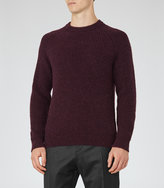 Reiss Reiss Jamie - Ribbed Crew-neck Jumper In Red