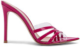 Gianvito Rossi Strappy Mules in Fuchsia & Transparent | FWRD