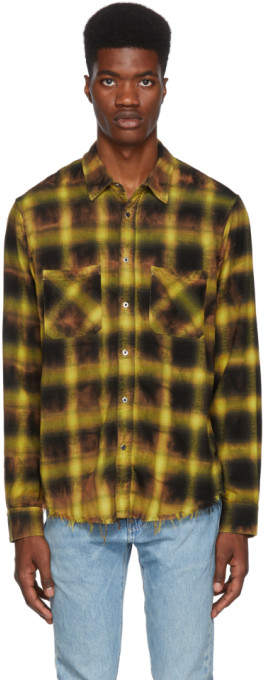 Amiri Yellow Tie Dye Blotch Plaid Shirt