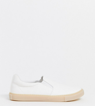 ASOS DESIGN Wide Fit slip on plimsolls in white leather look with gum sole