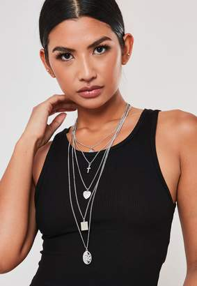 Missguided Silver Look 5 Layer Necklace