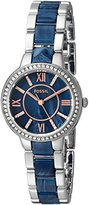 Fossil Women's ES4009 Virginia Stainless Steel and Blue Acetate Watch