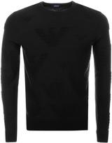 Giorgio Armani Jeans Crew Neck Logo Jumper Black