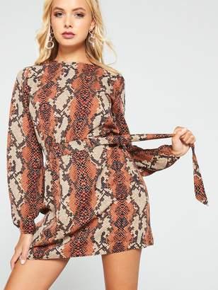 AX Paris Snake Print Day Dress - Rust