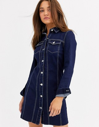 Lipsy long sleeve tailored denim dress in blue