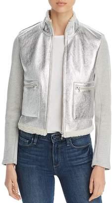 Majestic Filatures Metallic Leather-Front Jacket