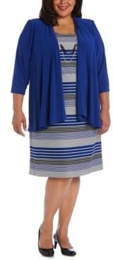R & M Richards Plus Size Striped Dress & Draped-Front Jacket