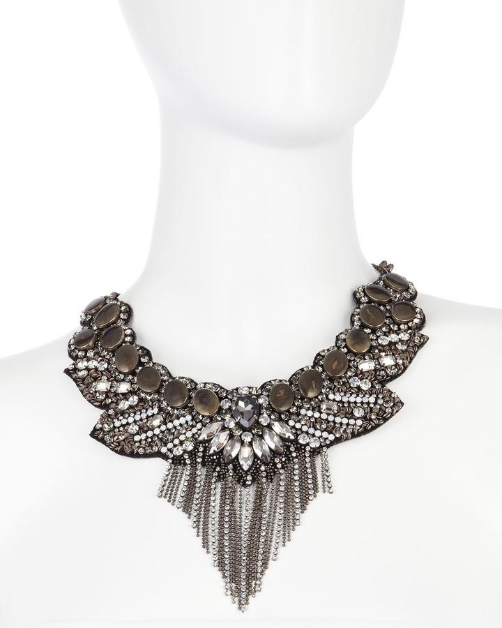 Deepa Gurnani Chain-Drop Crystal Bib Necklace