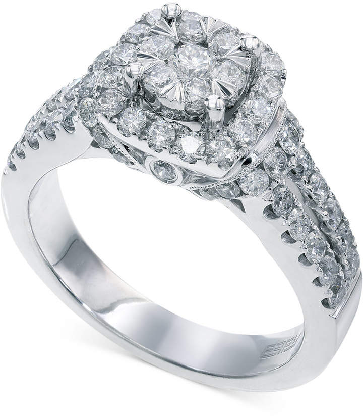 Effy Bouquet by Diamond Square Halo Engagement Ring in 14k White Gold (1-1/4 ct. t.w.)