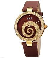 Burgi Women's BUR143YGBR Round Brown Mother of Pear and Yellow Gold Dial with Swarovski Crystals Quartz Movement Satin Strap Watch