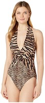 MICHAEL Michael Kors Tiger Front Twist Halter One-Piece (Brown Multi) Women's Swimsuits One Piece