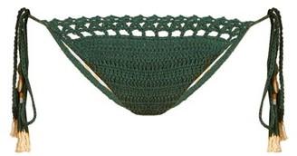 She Made Me Essential Tie-side Crochet Bikini Briefs - Womens - Green
