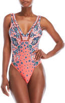 Red Carter Floral Print One-Piece Swimsuit