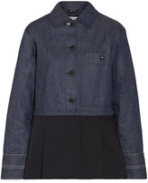 Elizabeth and James York Paneled Pleated Cotton-poplin And Denim Jacket - Dark denim