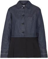 Elizabeth and James York Paneled Pleated Cotton-poplin And Denim Jacket - small