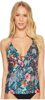 Laundry by Shelli Segal Floral Paisley Ruffle Plunge Tankini Women's Swimsuits One Piece
