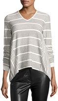 French Connection Pinstriped Knit Top, Black/White