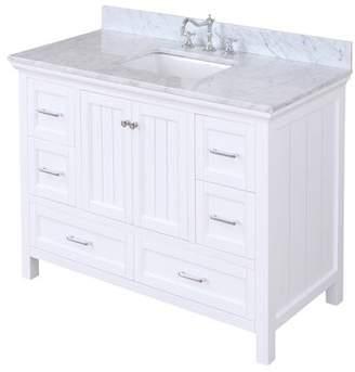 "Paige Kitchen Bath Collection 48"" Single Bathroom Vanity Set Kitchen Bath Collection Base Finish: White"