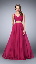 La Femme Beautiful Sleeveless Sweetheart Two-piece Chiffon Dress 23979