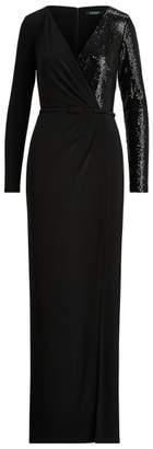 Ralph Lauren Sequinned Long-Sleeve Gown