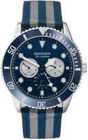 Sekonda Men's Blue & Grey Multi-Function Stripe Strap Watch