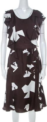 Oscar de la Renta Brown Abstract Print Silk Twill Ruffled Dress L