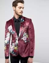 Asos Super Skinny Suit Jacket In Burgundy Velvet With Floral Print