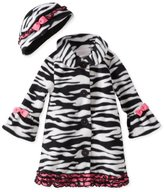 Bonnie Baby Baby-Girls Infant Zebra Fleece Coat and Hat Set