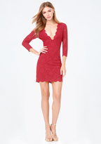 Bebe Scallop Lace Plunge Dress