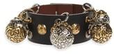 Alexander McQueen Women's Metallic Sphere Leather Bracelet