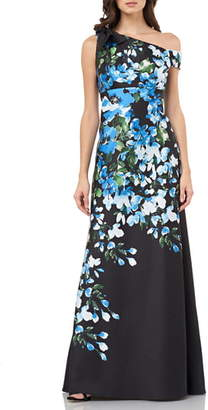 Carmen Marc Valvo Floral Print Bow Shoulder Gown