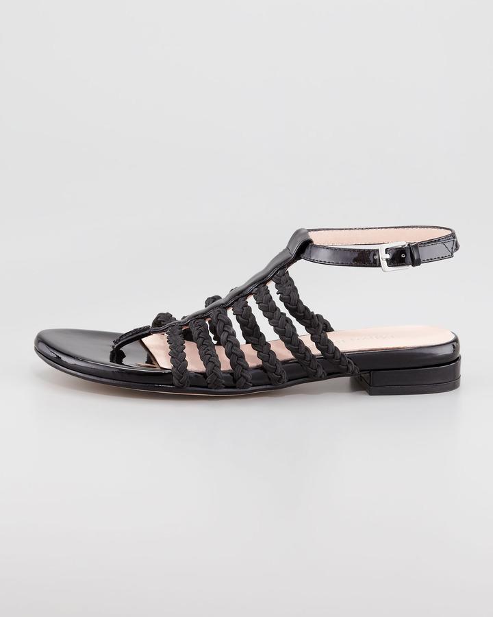 Taryn Rose Italia Stretch Braided Ankle-Strap Sandal, Black