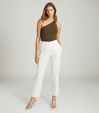 Reiss Thea - Twist-detail One-shoulder Top in Khaki