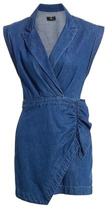 7 For All Mankind Denim Wrap Mini Dress