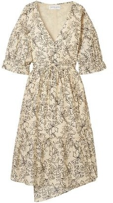 Apiece Apart Anichka Wrap-effect Floral-print Cotton And Silk-blend Midi Dress